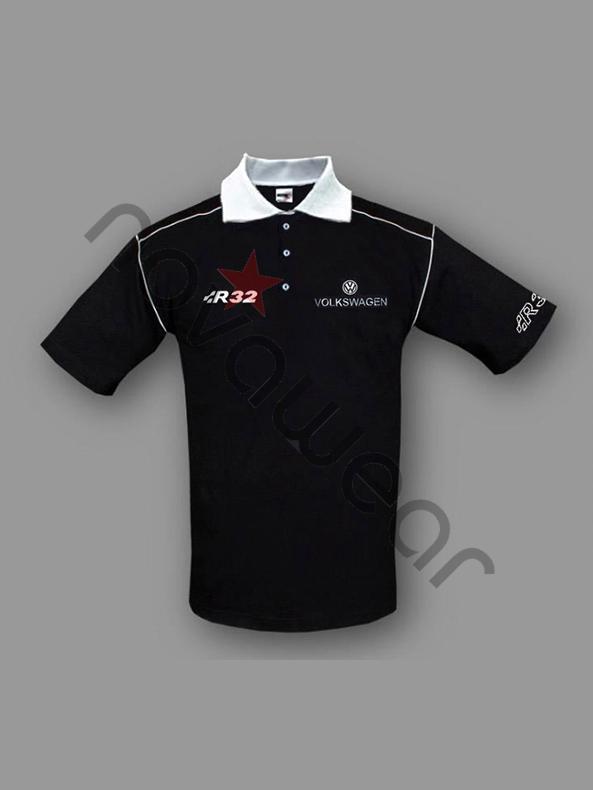 Volkswagen R32 Polo Shirt Black-VW Jackets, VW Clothing, VW Apparel