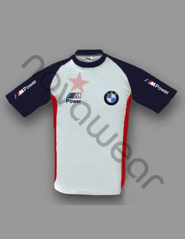 BMW M Power T-Shirt White/Blue-BMW Accessories, BMW Clothing